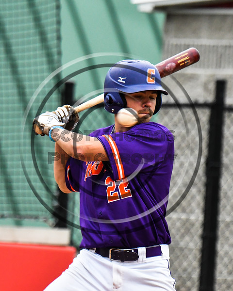 Cortland Crush Benjamin Horsfall (22) avoiding a pitch against the Rome Generals on Wallace Field in Cortland, New York on Sunday, June 23, 2018. Cortland won 14-5.