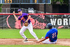 Cortland Crush Jimmy Tatum (17) tries for a Double Play against the Rome Generals on Wallace Field in Cortland, New York on Sunday, June 23, 2018. Cortland won 14-5.