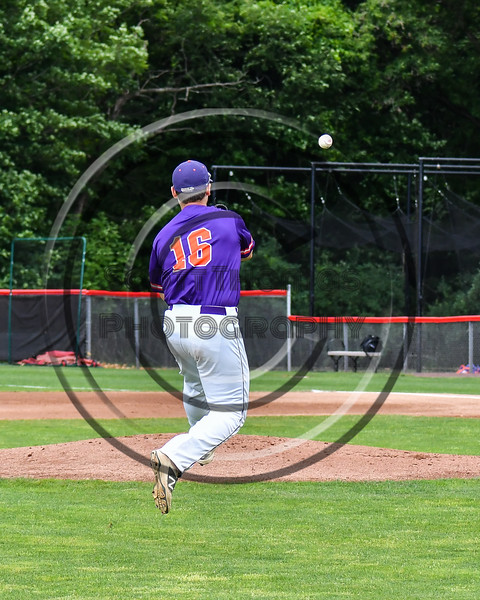 Cortland Crush Alex Babcock (16) throwing the Rome Generals runner out at 1st Base on Wallace Field in Cortland, New York on Sunday, June 23, 2018. Cortland won 14-5.