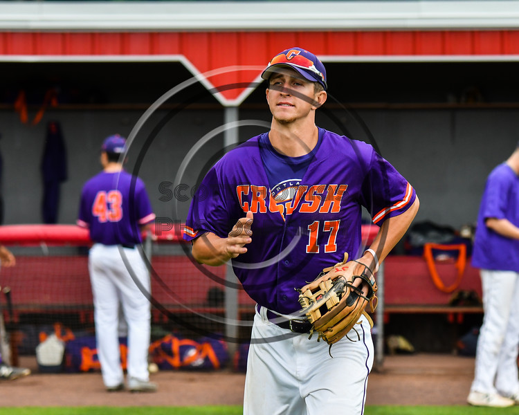 Cortland Crush Jimmy Tatum (17) being introduced before playing the Rome Generals on Wallace Field in Cortland, New York on Sunday, June 23, 2018.