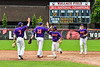 Cortland Crush players Tyler McKeon (7), Zach Kelley (33), Iset Maldonado (1) and Anthony Cieszko (3) celebrate the win over the Rome Generals on Wallace Field in Cortland, New York on Sunday, June 23, 2018. Cortland won 14-5.
