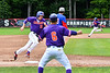 Cortland Crush Head Coach Bill McConnell (6) waving in Zach Kelley (33) to score against the Rome Generals on Wallace Field in Cortland, New York on Sunday, June 23, 2018. Cortland won 14-5.