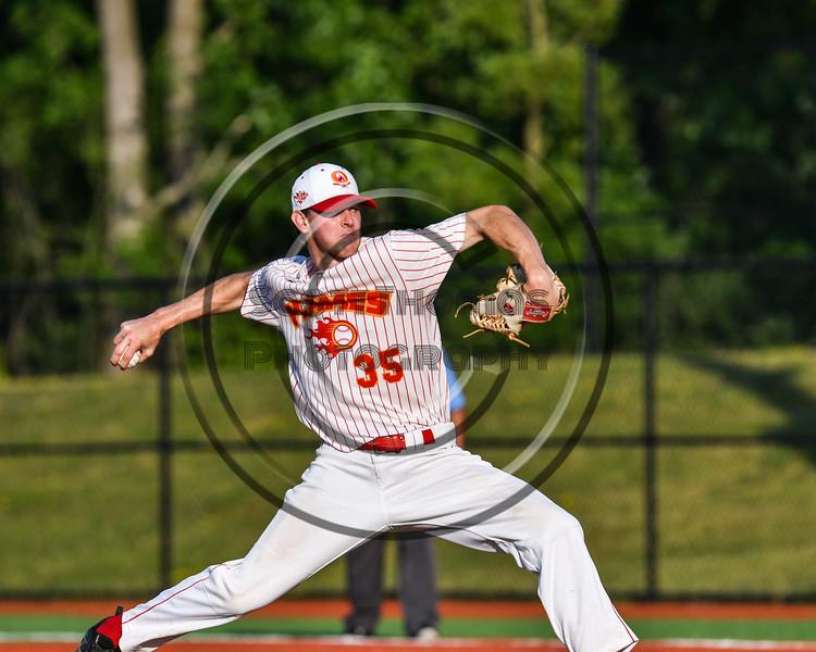 Onondaga Flames Connor Morrisroe (35) pitching against the Cortland Crush at OCC Turf Field in Syracuse, New York on Saturday, June 30, 2018. Onondaga won 9-7.