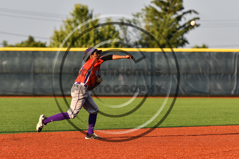 Cortland Crush Iset Maldonado (1) throwing out the Onondaga Flames runner at 1st Base at OCC Turf Field in Syracuse, New York on Saturday, June 30, 2018. Onondaga won 9-7.