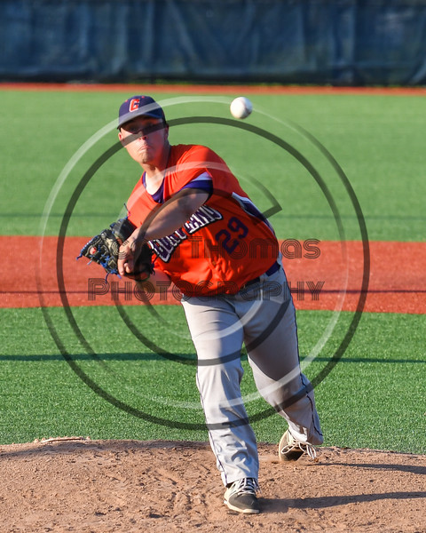 Cortland Crush Michael Viveiros (29) pitchng against the Onondaga Flames at OCC Turf Field in Syracuse, New York on Saturday, June 30, 2018. Onondaga won 9-7.