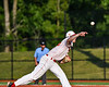 Onondaga Flames Connor Morrisroe (35) pitching against the Cortland Crush at OCC Turf Field in Syracuse, New York on Saturday, June 30, 2018. Onondaga won 9-7.