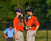 Cortland Crush Catcher Benjamin Horsfall (22) talks with Pitcher Logan Persse (36) against the Onondaga Flames at OCC Turf Field in Syracuse, New York on Saturday, June 30, 2018. Onondaga won 9-7.
