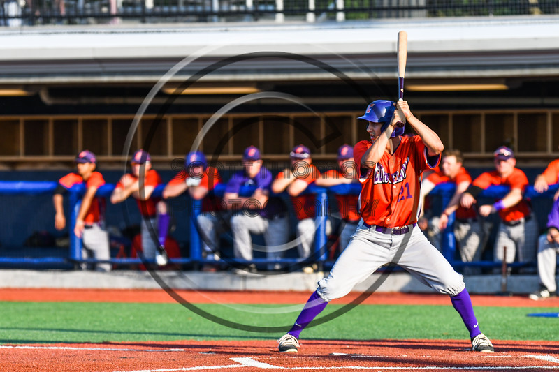 Cortland Crush Joe Palmo (21) at bat against the Onondaga Flames at OCC Turf Field in Syracuse, New York on Saturday, June 30, 2018. Onondaga won 9-7.