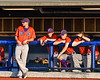 Cortland Crush players Alex Flock (2), Maxwell Tannebaum (23), Tyler McKeon (7) and Anthony Cieszko (3) watching from the dugout at OCC Turf Field in Syracuse, New York on Saturday, June 30, 2018.