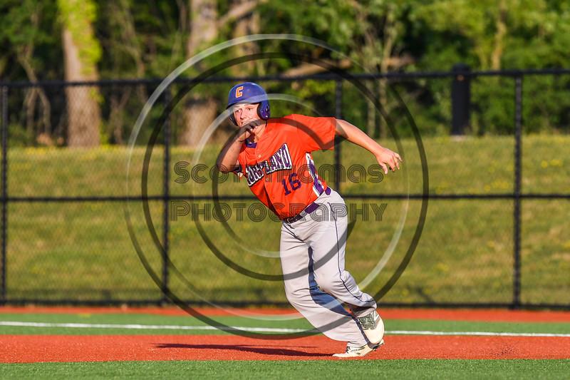 Cortland Crush Alex Babcock (16) running the bases against the Onondaga Flames at OCC Turf Field in Syracuse, New York on Saturday, June 30, 2018. Onondaga won 9-7.
