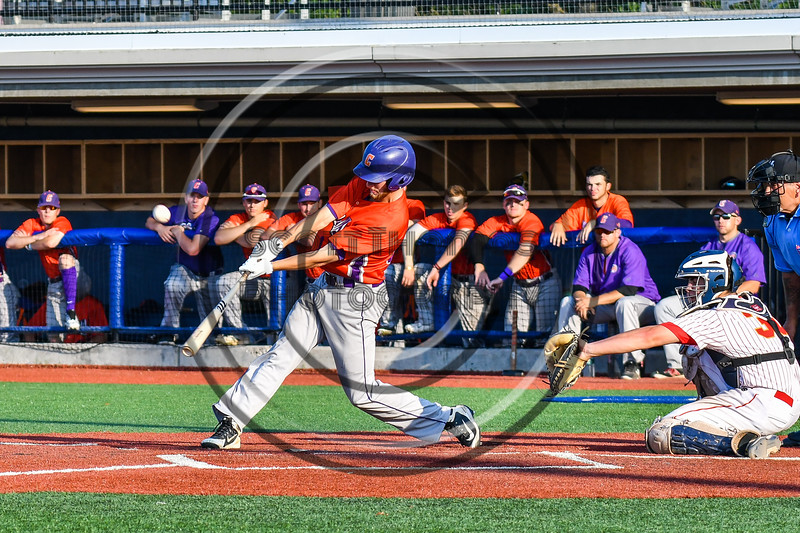Cortland Crush Dylan Ketch (14) hits the ball against the Onondaga Flames at OCC Turf Field in Syracuse, New York on Saturday, June 30, 2018. Onondaga won 9-7.