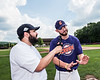 Cortland Crush Michael Perreault (8) being interviewed by Jake Hitt  at Wallace Field in Cortland, New York on Wednesday, July 4, 2018.