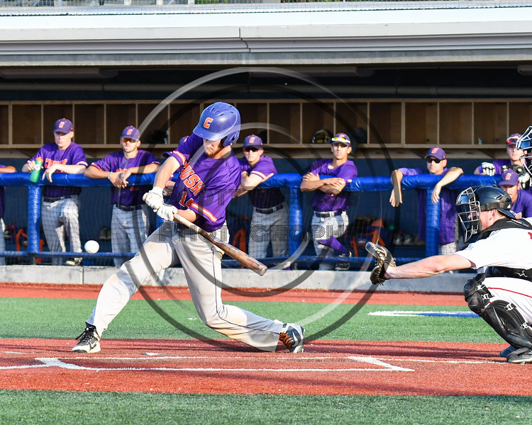 Cortland Crush Dylan Ketch (14) takign a swing at a ptich against the Syracuse Salt Cats at OCC Turf Field in Syracuse, New York on Friday, July 13, 2018. Cortland won 3-2.