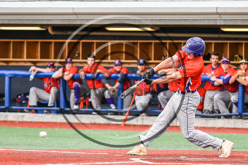 Cortland Crush Alex Flock (2) hits the ball against the Syracuse Salt Cats at OCC Turf Field in Syracuse, New York on Saturday, July 21, 2018. Syracuse won 5-4.
