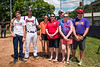 Cortland Crush Dylan Ketch (14) with the Anderson's Farm Market crew on Greg's Field at Beaudry Park in Cortland, New York on Sunday, July 22, 2018.