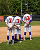 Cortland Crush players Tyler McKeon (7), Anthony Cieszko (3) and Jimmy Tatum (17) standing for the National Antherm on Greg's Field at Beaudry Park in Cortland, New York on Sunday, July 22, 2018.