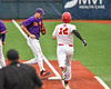 Cortland Crush 1st Baseman Zach Kelley (33) forces out Onondaga Flames runner in the New York Collegiate Baseball League Eastern Division Championship game at OCC Turf Field in Syracuse, New York on Tuesday, July 24, 2018. Onondaga won 2-1.