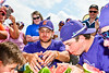 Anderson's Farm Market Watermelon Contest between the Cortland Crush and Sherrill Silversmiths players of the New York Collegiate Baseball League  at Gutchess Lumber Sports Complex in Cortland, New York on Thursday, July 21, 2019.