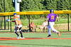 Cortland Crush Alex Flock (10) legs it out to First Base against Mansfield Destroyers AJ Gartland (12) in New York Collegiate Baseball League action at Gutchess Lumber Sports Complex in Cortland, New York on Saturday, June 8, 2019. Mansfield won 7-6.