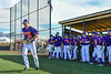 Cortland Crush Stephen Bennett (30) being introduced before playing the Mansfield Destroyers in New York Collegiate Baseball League action at Gutchess Lumber Sports Complex in Cortland, New York on Saturday, June 8, 2019.
