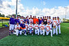 Cortland Crush sponsor poses with the team before the start of a New York Collegiate Baseball League game against the Sherrill Silversmiths at Gutchess Lumber Sports Complex in Cortland, New York on Friday, June 14, 2019.