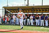 """Cortland Crush Brandon """"Buzz"""" Shirley (27) being introduced before playing the Sherrill Silversmiths in a New York Collegiate Baseball League game at Gutchess Lumber Sports Complex in Cortland, New York on Friday, June 14, 2019."""