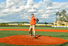Cortland Crush sponsor throws out the First Pitch before a New York Collegiate Baseball League game against the Sherrill Silversmiths at Gutchess Lumber Sports Complex in Cortland, New York on Friday, June 14, 2019.
