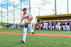 Cortland Crush Anthony Cieszko (3) being introduced before playing the Sherrill Silversmiths in a New York Collegiate Baseball League game at Gutchess Lumber Sports Complex in Cortland, New York on Friday, June 14, 2019.