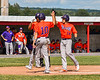 Cortland Crush Dylan Nolan (14) gets high fives after hitting his Home Run against  the Rome Generals in New York Collegiate Baseball League action at Larry Delutis Field in Rome, New York on Saturday, June 22, 2019. Cortland won 16-9.