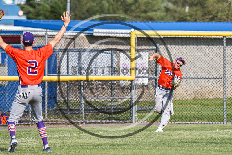 Cortland Crush Left Fielder Alex Flock (10) throwing the ball against the Rome Generals in New York Collegiate Baseball League action at Larry Delutis Field in Rome, New York on Saturday, June 22, 2019. Cortland won 16-9.