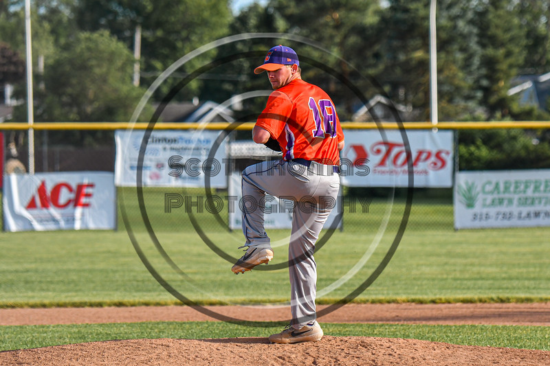 Cortland Crush Ben Mack (18) pitching against the Rome Generals in New York Collegiate Baseball League action at Larry Delutis Field in Rome, New York on Saturday, June 22, 2019. Cortland won 16-9.