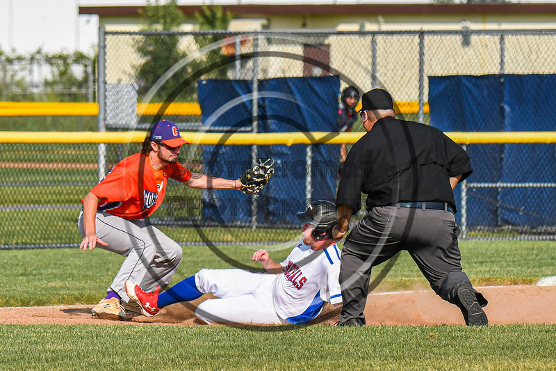 Cortland Crush Max Flock (12) tags the Rome Generals runner out at Third Base in New York Collegiate Baseball League action at Larry Delutis Field in Rome, New York on Saturday, June 22, 2019. Cortland won 16-9.
