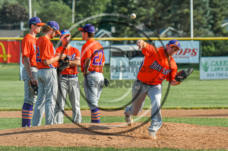 Cortland Crush Ben Mack (18) warming up before pitching against the Rome Generals in New York Collegiate Baseball League action at Larry Delutis Field in Rome, New York on Saturday, June 22, 2019. Cortland won 16-9.