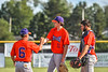 Cortland Crush Noah Nabholz (11) being relieved by Head Coach Bill McConnell (6) against the Rome Generals in New York Collegiate Baseball League action at Larry Delutis Field in Rome, New York on Saturday, June 22, 2019. Cortland won 16-9.