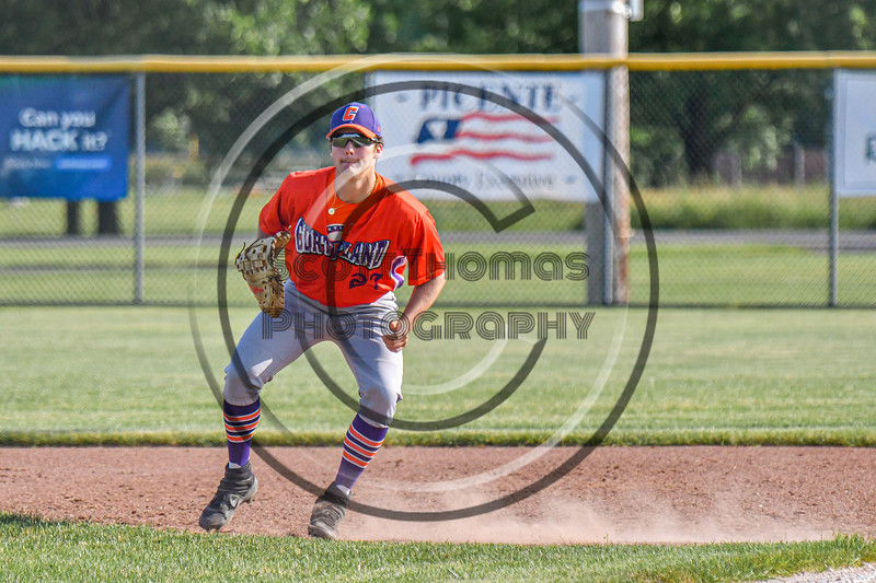 """Cortland Crush Brandon """"Buzz"""" Shirley (27) playing First Base against the Rome Generals in New York Collegiate Baseball League action at Larry Delutis Field in Rome, New York on Saturday, June 22, 2019. Cortland won 16-9."""