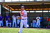 """Cortland Crush Brandon """"Buzz"""" Shirley (27) being introduced before playing the Syracuse Salt Cats in a New York Collegiate Baseball League game at Gutchess Lumber Sports Complex in Cortland, New York on Sunday, June 23, 2019."""
