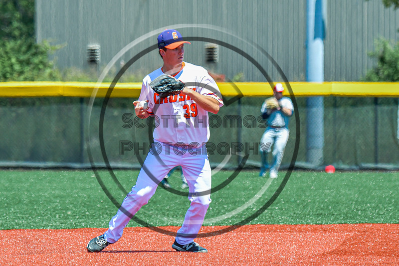 Cortland Crush Andrew Gough (39) warming up before playing the Syracuse Salt Cats in a New York Collegiate Baseball League game at Gutchess Lumber Sports Complex in Cortland, New York on Sunday, June 23, 2019.