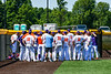Cortland Crush huddle up before playing the Syracuse Salt Cats in a New York Collegiate Baseball League game at Gutchess Lumber Sports Complex in Cortland, New York on Sunday, June 23, 2019.