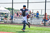 Cortland Crush Dylan Nolan (14) being introduced before playing the Syracuse Salt Cats in a New York Collegiate Baseball League game at Gutchess Lumber Sports Complex in Cortland, New York on Sunday, June 23, 2019.
