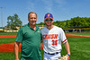 Cortland Crush Stephen Bennett (30) and the First Pitch person at Gutchess Lumber Sports Complex in Cortland, New York on Sunday, June 23, 2019.