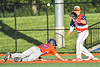 Cortland Crush Stephen Bennett (30) gets back to Frist Base beating the throw to Syracuse Salt Cats Cameron Gallo (14) in New York Collegiate Baseball League action at OCC Turf Field in Syracuse, New York on Wednesday, June 26, 2019. Syracuse won 7-2.