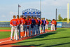 Cortland Crush players stand for the National Anthem before playing the Syracuse Salt Cats in a New York Collegiate Baseball League game at OCC Turf Field in Syracuse, New York on Wednesday, June 26, 2019.