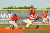 Syracuse Salt Cats Xander Ferlenda (18) is safe at Second Base against Cortland Crush Andrew Gough (39) in New York Collegiate Baseball League action at OCC Turf Field in Syracuse, New York on Wednesday, June 26, 2019. Syracuse won 7-2.