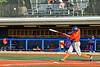 Cortland Crush Garrett Callghan (15) hits the ball against the Syracuse Salt Cats in New York Collegiate Baseball League action at OCC Turf Field in Syracuse, New York on Wednesday, June 26, 2019. Syracuse won 7-2.