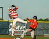 Cortland Crush Stephen Bennett (30) is safe at Second Base as Syracuse Salt Cats Ben Mack (18) keeps a high throw from going past him in New York Collegiate Baseball League action at OCC Turf Field in Syracuse, New York on Wednesday, June 26, 2019. Syracuse won 7-2.