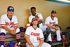 Cortland Crush players in the dugout during a Generals in New York Collegiate Baseball League game at Gutchess Lumber Sports Complex in Cortland, New York on Thursday, June 27, 2019.