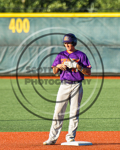 Cortland Crush Alex Flock (10) at Second Base after hitting a Double against the Syracuse Salt Cats in New York Collegiate Baseball League action at OCC Turf Field in Syracuse, New York on Saturday, June 29, 2019. Cortland won 4-1.