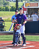 Cortland Crush Landon Dombrowski (9) being introduced before playing the Syracuse Salt Cats in a New York Collegiate Baseball League game at Gutchess Lumber Sports Complex in Cortland, New York on Monday, July 1, 2019.