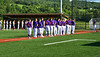 Cortland Crush and Syracuse Salt Cats players standing for the National Anthem before playing a New York Collegiate Baseball League game at Gutchess Lumber Sports Complex in Cortland, New York on Monday, July 1, 2019.