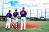 Cortland Crush players Sean O'Malley (8), Landon Dombrowski (9) and Jared Strait (36) standing for the National Anthem before a New York Collegiate Baseball League game at Gutchess Lumber Sports Complex in Cortland, New York on Thursday, July 4, 2019.